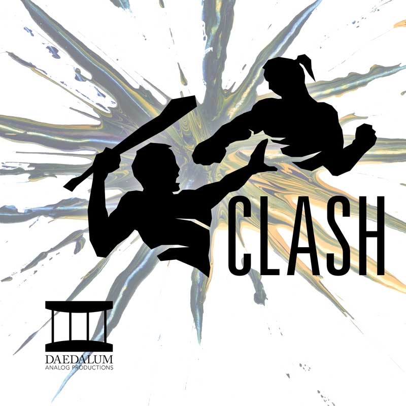 Clash icon, two stylized figures fight over a splash of color